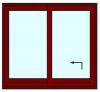 Hef schuifpui 2 delig tot 200 cm breed. Kozijnhout 67 x 116 mm.
