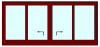 Hef schuifpui 4 delig tot 460 cm breed. Kozijnhout 67 x 116 mm.