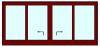 Hef schuifpui 4 delig tot 520 cm breed. Kozijnhout 67 x 116 mm.